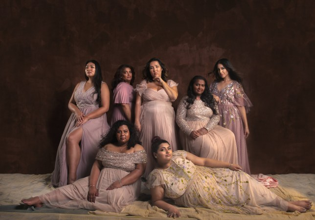 Plus sized women pose in stunning ball gowns to show off Asian beauty