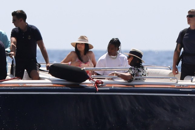 Reality and Social media star Kylie Jenner spotted with her boyfriend Travis, mum Kris and her partner off the island of Capri