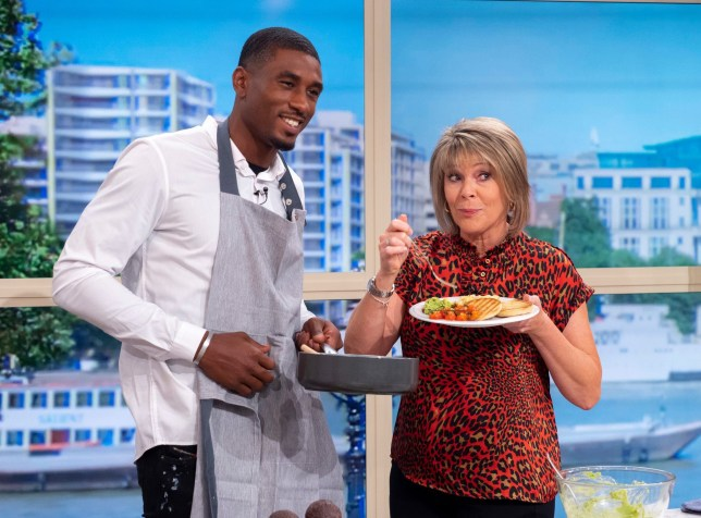 Editorial use only Mandatory Credit: Photo by Ken McKay/ITV/REX (10357390dp) Ovie Soko and Ruth Langsford 'This Morning' TV show, London, UK - 08 Aug 2019 COOKERY: OVIE?S ULTIMATE BRUNCH Poached, scrambled or fried... no matter how you like your eggs in the morning, Ovie has proved he can do it all! He's stayed with us to whip up a mouthwatering brunch.