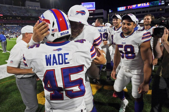 Buffalo Bills' Christian Wade (45) celebrates his touchdown with teammates during the second half of an NFL preseason football game against the Indianapolis Colts, Thursday, Aug. 8, 2019, in Orchard Park, N.Y.
