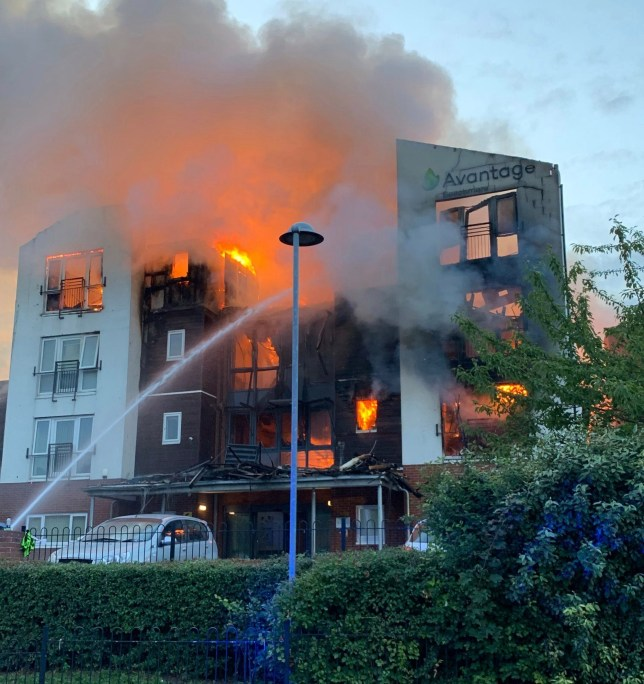 Handout picture from Cheshire Fire and Rescue Service showing firefighters at the scene of a blaze in a retirement home in Crewe from which 150 people were evacuated. PRESS ASSOCIATION Photo. Issue date: Friday August 9, 2019. See PA story FIRE Crewe. Photo credit should read: Cheshire Fire and Rescue Service/PA Wire NOTE TO EDITORS: This handout photo may only be used in for editorial reporting purposes for the contemporaneous illustration of events, things or the people in the image or facts mentioned in the caption. Reuse of the picture may require further permission from the copyright holder.