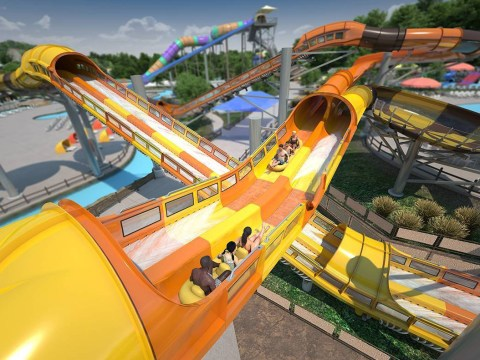 Amazing water coaster pushes you up steep bits with high-force water