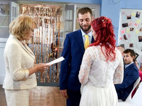 Couple get married in the primary school hall where they met when they were four