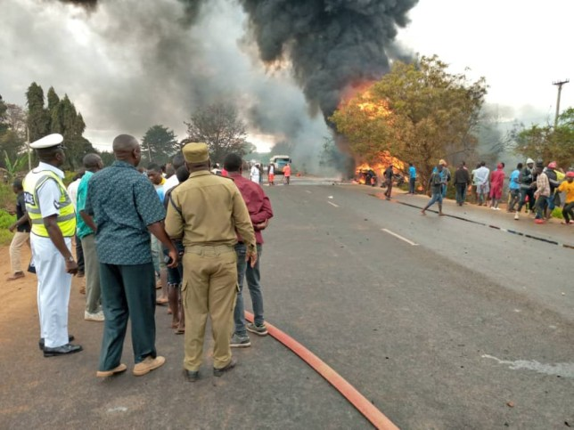 Image result for At least 57 people burned to death after fuel tanker explosion in Tanzania