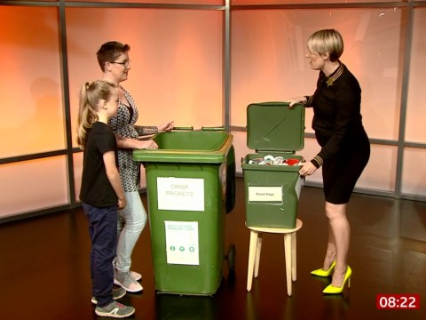BBC Breakfast's Steph McGovern sniffs a bin to apologise to family on live TV