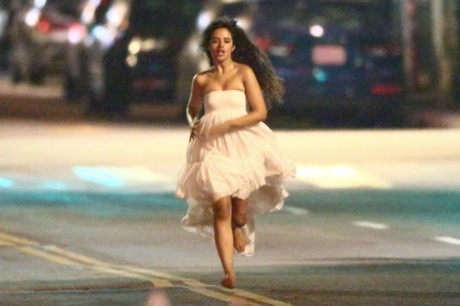 Los Angeles, CA - *EXCLUSIVE* - Camila Cabello films a new music video in L.A running up and down the street barefoot during the late hours. The singer was seen sprinting through the middle of the street in a white flowy dress. **SHOT ON 08/12/2019** Pictured: Camila Cabello BACKGRID USA 13 AUGUST 2019 BYLINE MUST READ: W Blanco / BACKGRID USA: +1 310 798 9111 / usasales@backgrid.com UK: +44 208 344 2007 / uksales@backgrid.com *UK Clients - Pictures Containing Children Please Pixelate Face Prior To Publication*