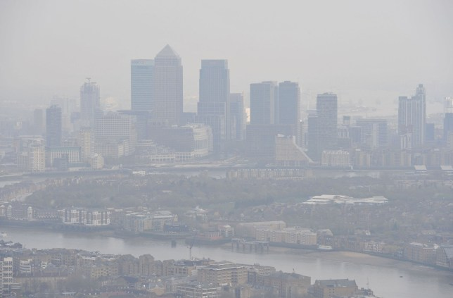 File photo dated 10/04/15 of air pollution over London. Air pollution is a bigger global killer than smoking, research has shown.