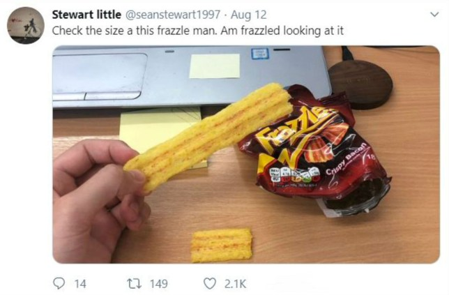 Man finds 'world's biggest Frazzle' inside packet of crisps