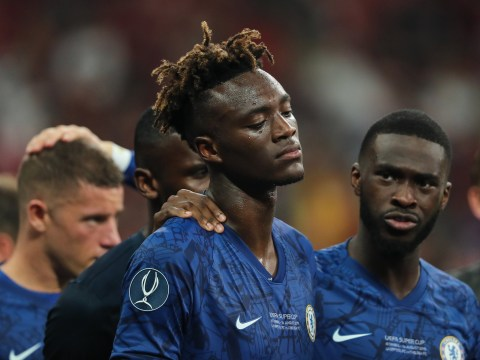 Frank Lampard comforts distraught Tammy Abraham after his penalty miss in Chelsea's Super Cup defeat to Liverpool