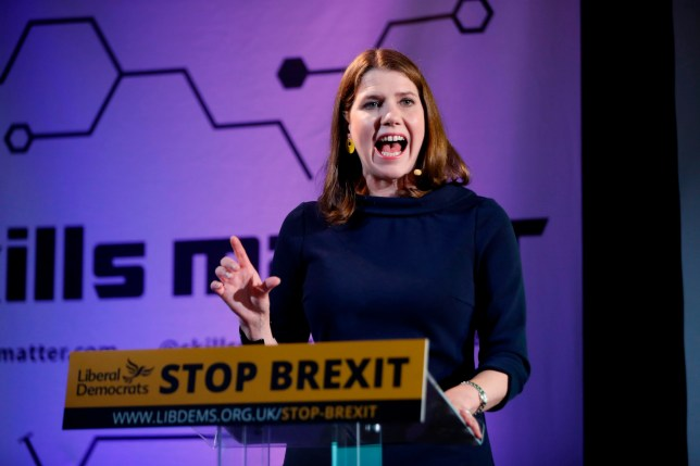 Leader of the Liberal Democrats Jo Swinson gestures as she delivers a keynote speech on Brexit in London on August 15, 2019. - Swinson called on MPs who oppose no-deal to set aside their differences and get behind a caretaker leader without long-term ambitions to govern in the event of a vote of no confidence, rejecting the idea that main opposition Labour leader Jeremy Corbyn could united the House to form a temporary government. (Photo by Tolga AKMEN / AFP)TOLGA AKMEN/AFP/Getty Images