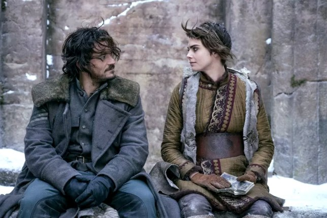 Orlando Bloom as Rycroft Philostrate and Cara Delevingne as Vignette Stonemoss in Carnival Row