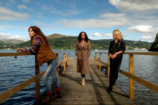 Deep Water cast Anna Friel, Sinead Keenan and Rosalind Eleazar on location in the Lake District