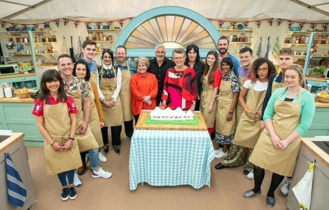 The contestants in The Great British Bake Off 2019 with Sandi Toksvig, Paul Hollywood, Prue Leith and Noel Fielding