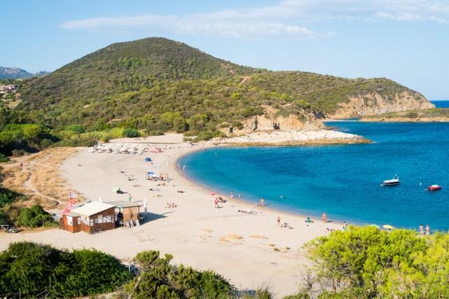 Panorama of Torre Chia beach, south of Sardinia, Italy