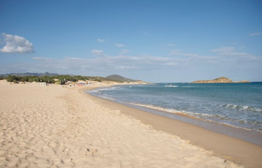 Plage de Chia, au sud de la Sardaigne, Italie