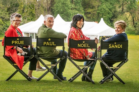 Great British Bake Off's Prue Leith, Paul Hollywood, Noel Fielding, Sandi Toksvig in front of the tent