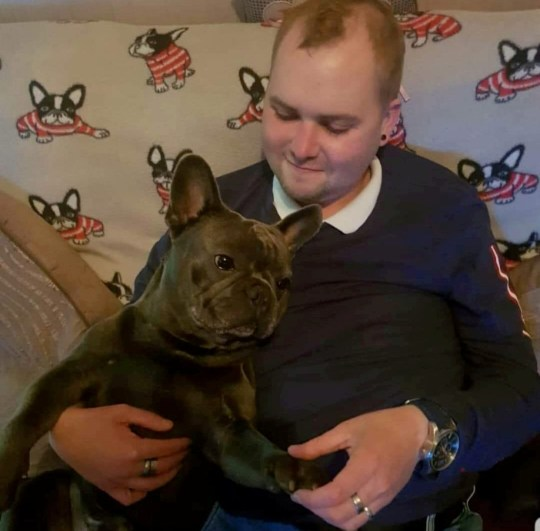 Stuart Hutchison who died aged 25 after a cancer battle - pictured with his French bulldog, Nero, who died 15 minutes after him. See SWNS story SWSCdeath. A young cancer patient died aged 25 - just 15 minutes before his favourite pet dog passed away. Stuart Hutchison was diagnosed with a brain tumour in 2011, and underwent surgery and bouts of chemotherapy to treat it. But the cancer spread to his bones and he suffered another aggressive tumour. Stuart, who married wife Danielle, 22, in January, doted on his two-year-old French bulldog, Nero.
