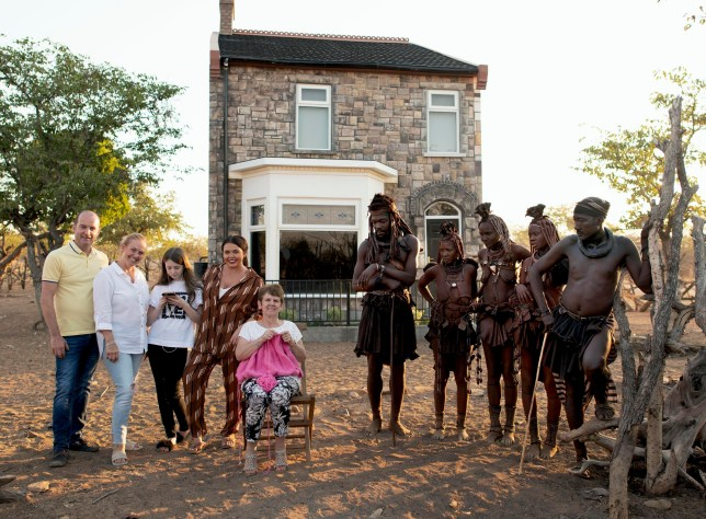 EMBARGOED TO 0001 WEDNESDAY AUGUST 21 Channel 4 undated handout photo of Scarlett Moffatt and members of her family with the Himba tribe. The former Gogglebox star will embark on an African adventure taking her family and home with her. The reality TV star will will swap their home of County Durham for remote northern Namibia in a new programme on Channel 4. PRESS ASSOCIATION Photo. Issue date: Wednesday August 21, 2019. The British Tribe Next Door will The reality TV star spend four weeks with the nomadic Himba tribe See PA story SHOWBIZ Edinburgh. Photo credit should read: David Bloomer/Channel 4/PA Wire NOTE TO EDITORS: This handout photo may only be used in for editorial reporting purposes for the contemporaneous illustration of events, things or the people in the image or facts mentioned in the caption. Reuse of the picture may require further permission from the copyright holder.