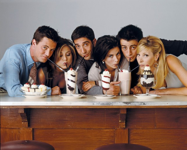 FRIENDS -- Pictured: (l-r) Matthew Perry as Chandler Bing, Jennifer Aniston as Rachel Green, David Schwimmer as Ross Geller, Courteney Cox as Monica Geller, Matt Le Blanc as Joey Tribbiani, Lisa Kudrow as Phoebe Buffay (Photo by NBC/NBCU Photo Bank via Getty Images)