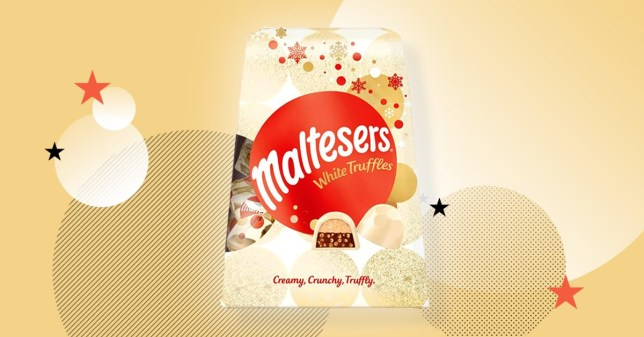 White Malteasers truffles on yellow background