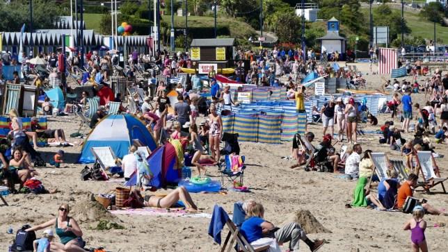 Mandatory Credit: Photo by Geoffrey Swaine/REX (10368986ar) People enjoy the hot weather in Swanage, Dorset Seasonal weather, UK - 22 Aug 2019