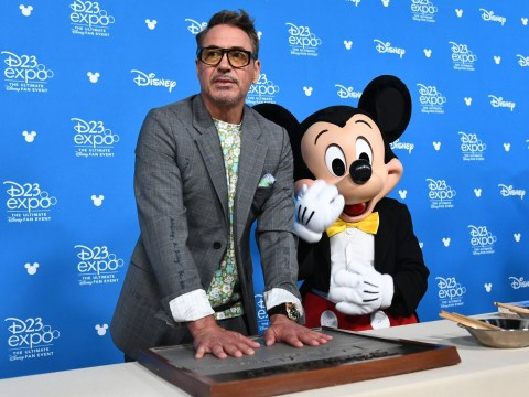 Avengers' Robert Downey Jr poses with Mickey Mouse after Disneyland arrest confession