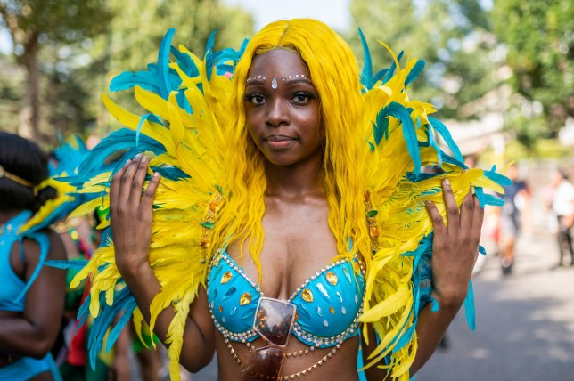 A performer in costume at the Notting Hill Carnival 2019