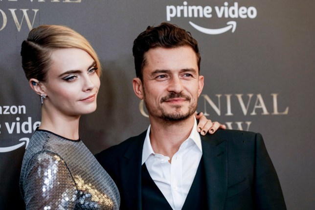 "BERLIN, GERMANY - AUGUST 26: British model and actress Cara Delevingne and british actor Orlando Bloom attend the ""Carnival Row"" Special Screening at Astor Film Lounge on August 26, 2019 in Berlin, Germany. (Photo by Isa Foltin/Getty Images)"