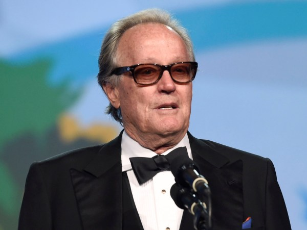 FILE - In this Jan. 2, 2018 file photo, Peter Fonda presents the Desert Palm achievement award at the 29th annual Palm Springs International Film Festival in Palm Springs, Calif. Fonda has apologized for a late-night Twitter rant that said 12-year-old Barron Trump should be ripped from his mother's arms and put in a cage with pedophiles.? The all-capitals tweet early Wednesday went on to call President Donald Trump an expletive. Fonda later deleted the tweet and drew sharp rebukes from first lady Melania Trump and Donald Trump Jr. (Photo by Chris Pizzello/Invision/AP, File)