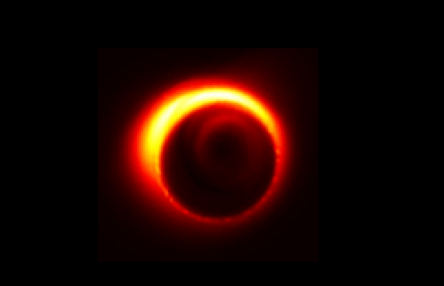 A simulated image of the black hole lurking at the dark heart of the Milky Way