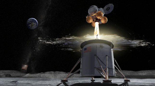 This Nasa image shows ' ascent vehicle separating from a descent vehicle and departing the lunar surface' (Picture: Nasa)