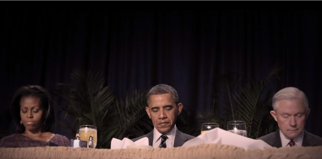 A still from The Family, including Michelle Obama and Barack Obama