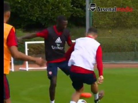 Nicolas Pepe destroys new Arsenal teammate Granit Xhaka in first training session
