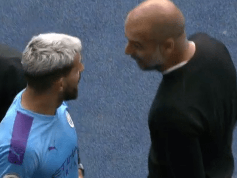 Sergio Aguero and Pep Guardiola involved in blazing row on sideline during Tottenham clash