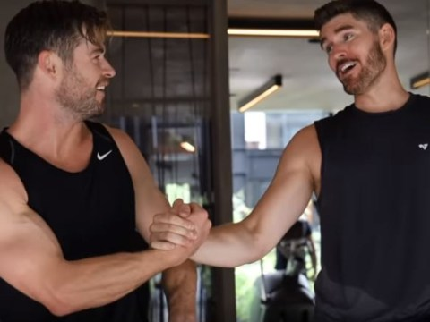 Chris Hemsworth flies around the world to work out with fan and it's a sweaty affair