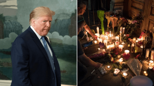 Photo of Donald Trump at White House next to photo of memorial to Dayton shooting victims