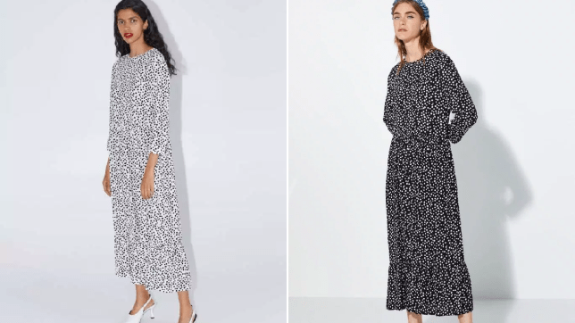 The white and black Zara spotty dress and the new black and white version