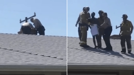 Photo of police helping suspected burglar out of chimney, before leading him off roof of house wrapped in towel