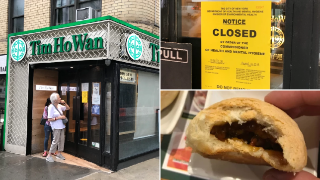 Photos of Tim Ho Wan, the closure notice posted to its door, and one of its famous caramelized pork buns