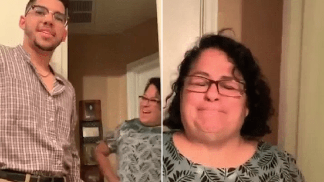 Mum Julia crying when her son Clayton wears his dad's old shirt
