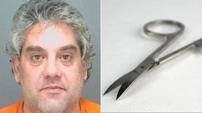 Mugshot of Panagiotis Karamanlis and file photo of pair of scissors