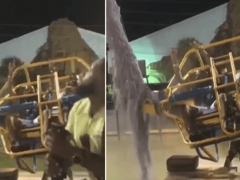 Moment theme park guests narrowly 'dodge death' after thrill ride cable snaps
