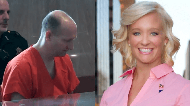 Photo of Ryan Alden in court and file photo of Judge Amy Palumbo