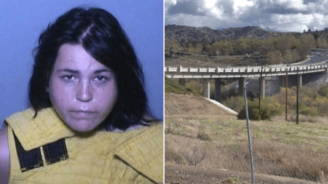 Mugshot of Stephanie Redondo and file photo of bridge running along the Crown Valley Parkway