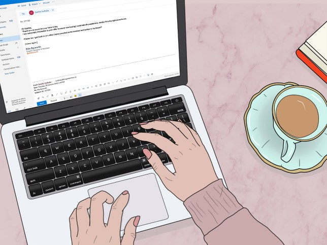 Illustration of someone writing an email on their laptop