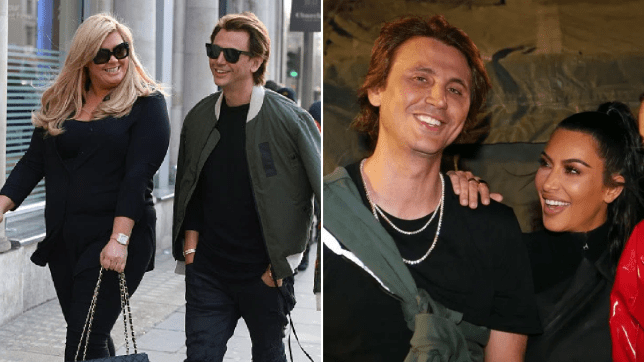 a pic of jonathan cheban with gemma collins next to a pic of cheban with kim kardashian