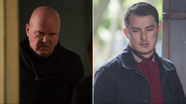 Steve McFadden as Phil Mitchell and Max Bowden as Ben Mitchell in EastEnders