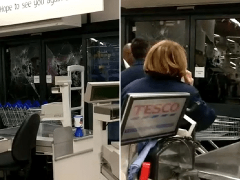 Bare-chested man smashes up Tesco entrance with bike