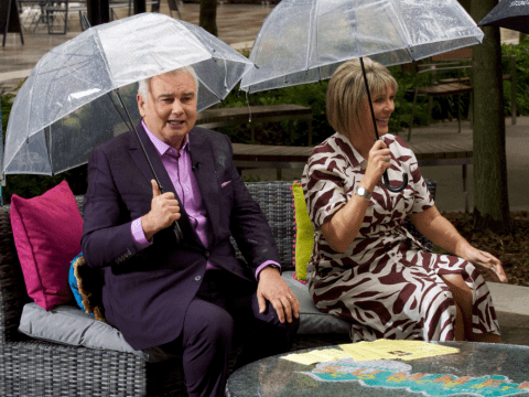 This Morning's Eamonn Holmes and Ruth Langsford get soaked in disastrous live interview
