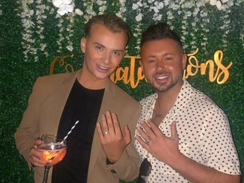 Towie's Harry Derbidge gets engaged to Dean Rowland at surprise party organised by Amy Childs